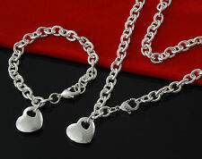 New Chain Link Heart Necklace and Bracelet Set Sterling Silver FAST FREE SHIP