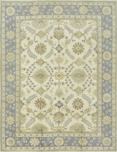 Oushak Rug, 9'x12', Ivory/Grey, Hand-Knotted Wool Pile