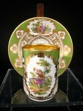 Richard Klemm Dresden Cup & Saucer Courting Couple Green & Gold