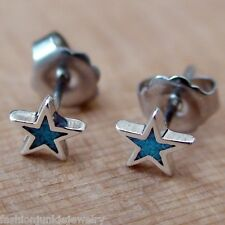 Turquoise Star Earrings - 925 Sterling Silver - Star Post Stud Galaxy Universe