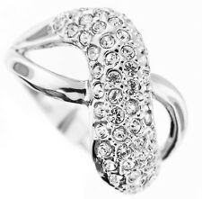 Crystal Pave Crossed Silver Rhodium Plated Ladies Ring Size 9