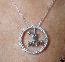argento sterling DIAMANTE VERO # 1 MOM pendente a cerchio