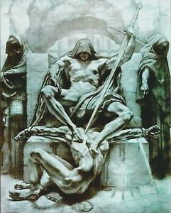 8x10 Art Print Nude Male Man in Chains Pleading Naked JUSTICE Judgment Executed