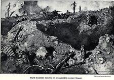1917 Fort Brimont: Angriff französischer Infanterie bei Courcy * antique print