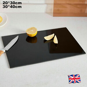 Large Glass Worktop Saver Kitchen Chopping Cutting Utensil Board Black 2 Sizes