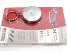"KEY-BAK Chrome Model 5 ORIGINAL Retractable 24"" Chain Key Ring Reel + Belt Clip!"