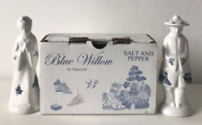 Churchill Blue Willow Asian Man and Woman Salt and Pepper Set. New in Box.
