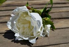Antiguo Crema peonías, individuales artificial Lujo Seda Peony Flores-Blanco