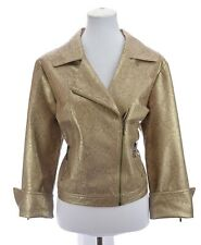 New listing Sharon Young Womens Faux Leather Moto Zip Jacket Reptile Print Gold Sz 14 Large