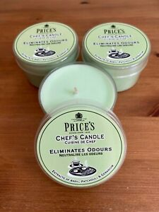 3 x Price's Tin Chefs OR Open Window OR Anti Tobacco OR Household (Pet) candles