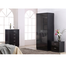 REFLECT Gloss Black / Black Oak 3 Piece Bedroom Furniture Plain Set Soft Close