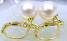 Genuine 9.5mm AAA round white south sea pearl earring 14k yellow gold