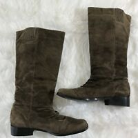Classique Women's Sz 9 W Brown Suede Leather Knee High Low Heel Riding Boots