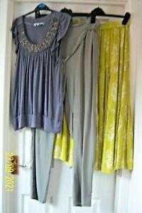 LADIES BUNDLE 14/16 MUSTARD SKIRT, KHAKI GREEN HAREM PANTS & GREY BLOUSE