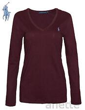 RALPH LAUREN Ladies Long Sleeve Top Burgundy Cotton Blue Pony Logo BNWT