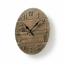 Nedis Rustic/Wooden/Distressed Wall Clock 30cm Diameter for Kitchen/Living Room