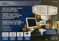 Sunforce Solar 150LED triple cabeza Sensor De Movimiento Luz de Seguridad con Panel Solar
