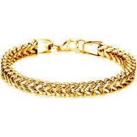 "Men's 6mm 9"" Stainless Steel Franco Box Cuban Curb Gold Tone Chain Bracelet M"