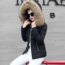 Damen WinterJacke daunen Jacke Baumwoll mantel 100% echtfell kapuze Steppjacke