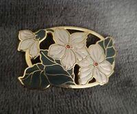 Vintage Signed Crown & Fish Cloisonne Enamel Flower Brooch Goldtone Jewellery