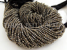 "13"" strand natural golden AAA PYRITE faceted gem stone rondelle beads 2.5mm"