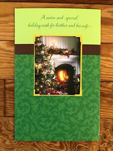 """Tri-Fold Christmas Greeting Card and Envelope for """"Brother and His Wife"""""""