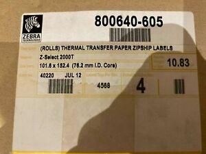 Lot of 4(!) 800640-605 Zebra Z-Select 2000T 102x152 thermal transfer paper label
