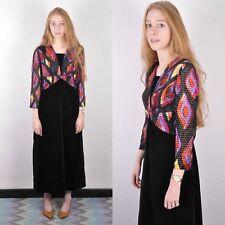 Vintage '60 Boho robe maxi velours rose noir 12 rétro années 60 années 70
