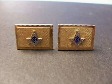 VINTAGE FREEMASON / MASONIC CUFFLINKS -- GOLDTONE MASON CUFFLINKS
