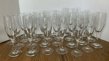 Champagne Flutes Clear Glass Assorted Sizes and Designs Lot of 27 Barware