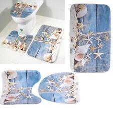 3pcs Floral Non Slip Soft Bath Mat Set Pedestal Bathroom Toilet Cover Decoration