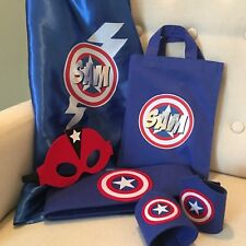 DELUXE SUPERHERO KIT SET - PERSONALISED CAPE & ACCESSORIES IN COTTON BAG