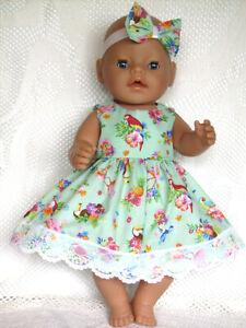 "For 16"" Baby Born Dress. Aqua Green, Birds & Flowers. Headbow & White Panties."