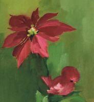 Vintage Mid Century Christmas Greeting Card Hallmark Green Pink Bird Flower