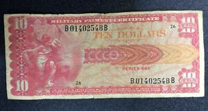 MPC Military Payment Certificate Series 661 $10 Ten Dollars (49995)