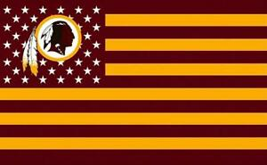 2 Washington Redskins Stars & Stripes Flag Waterproof Vinyl Stickers 5x3 Decal