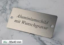 TÜRSCHILD 85x40mm - Namenschild Alu silber gebürstet - mit WUNSCHGRAVUR