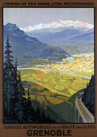 "Vintage Illustrated Travel Poster CANVAS PRINT Grenoble France 8""X 12"""