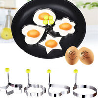 4X Stainless Steel Pancake Mould Mold Ring Cooking Fried Egg Shaper Kitchen Tool