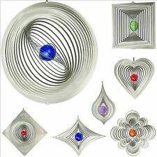 Windspiel aus Edelstahl mit Glaskugel 16 Motive rostfrei wetterfest 3D Deko NEU