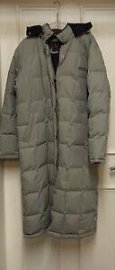 Woolrich Grey Down Padded Long Hooded Parka Coat Jacket - Size Medium