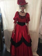 Beautiful Victorian Western Red Satin Dress with Over Skirt & Lace Size Small