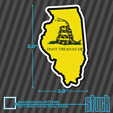 """Illinois State Don't Tread On Me - 3.0""""x5.0"""" - printed vinyl decal sticker IL"""