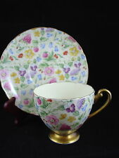 SHELLEY COUNTRY SIDE CHINTZ 13701 FOOTED CUP AND SAUCER