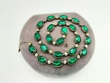 Back Riviere Necklace C1900s As Is Antique Georgian Emerald, Diamante Paste Flat