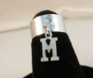 14KT WHITE  GOLD EP  DANGLE INITIAL M TOE RING IN A HAMMERED RING