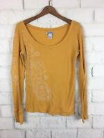 Lucky Brand Mustard Yellow Long Sleeve Thermal Base Layer Waffle Top Size Large