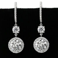 4 ct Off White Round Moissanite 2 Stone Halo Stud Earrings 925 Sterling Silver