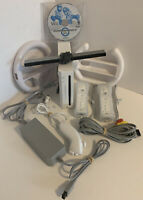 Nintendo Wii Console Lot w/ Mario Kart & Steering Wheels Bundle Tested GameCube