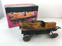 Vintage : AMOS AND ANDY - Wind Up Tin TAXI Toy in Custom Box -- Tested Works